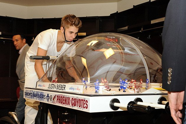 Justin Bieber Playing Bubble Hockey - Glendale - Arizona - 2012