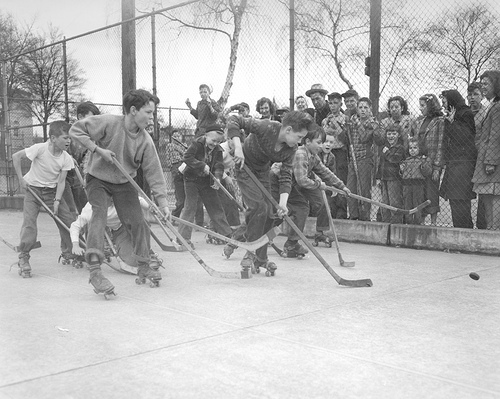 Children playing Roller Hockey - 1960s
