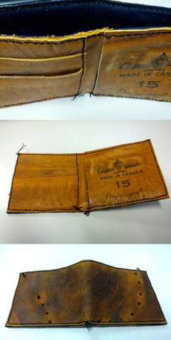 Vintage Hockey Wallet - Made from Old Ice Hockey Gloves - 2013