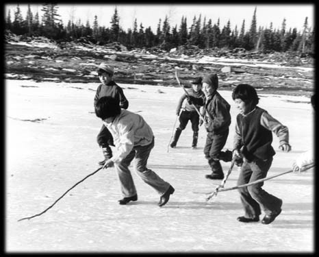First Nations Children - Tree Branch Hockey Sticks - Shinny