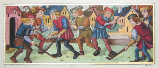 Hand Colored Hockey Engraving by Annie Bouyer