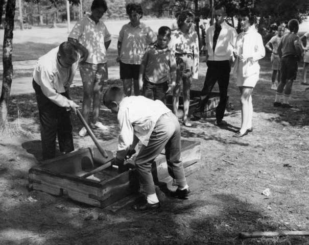 Two boys playing box Hockey at Millstone 4-H Camp - 1961