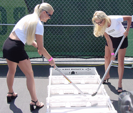 Hockey Goddesses Playing Box Hockey - Nice Uniforms !