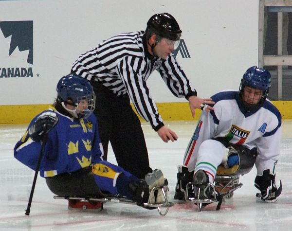 Sledge Hockey - Sweden vs Italia Faceoff - Winter Olympics 2010