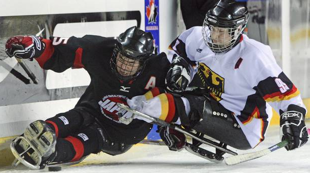 Sledge Hockey - Game Action Body Checking - Japan vs Germany
