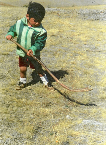 Mapuche Indian Boy with a Chueca / Palin Stick - 1985