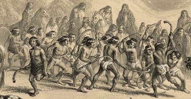 Mapuche Indians Playing Palín / Chueca - 1854 - Chile