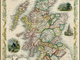Map of Scotland - 1851 - Shinty Vignette - John Tallis