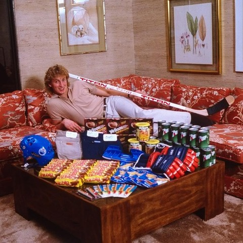 Wayne Gretzky with his Sponsors Merchandise - Early 1980s