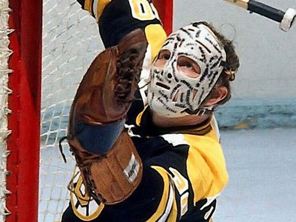 Gerry Cheevers wearing his Famous Goalie Mask - Boston Bruins