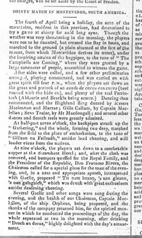 Shinty History - Report of a shinty match in Montevideo - 1842