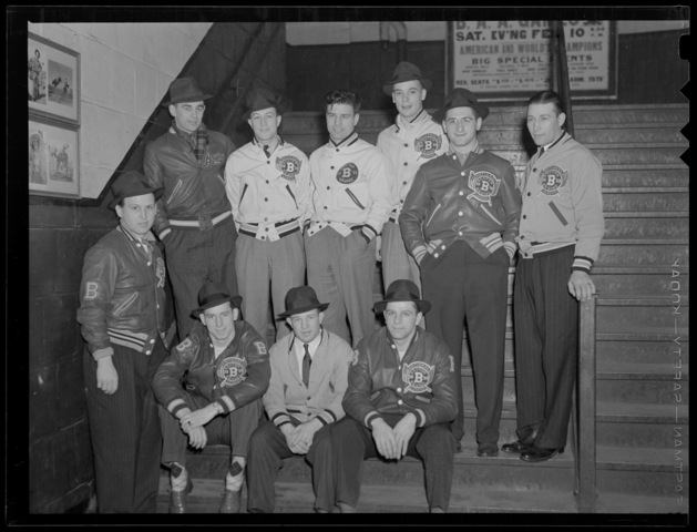 Bostons Bruins - Posing on the stairs at Boston Garden - 1939
