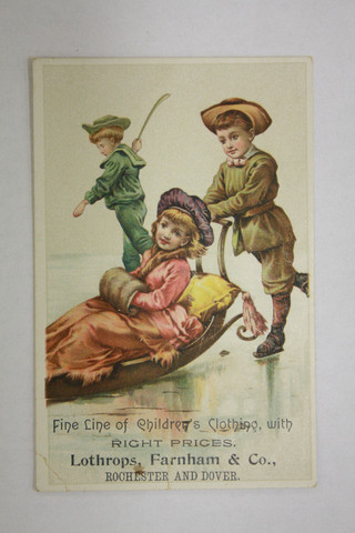 Antique Trade Card - Boy with Bandy Stick in Background - 1880