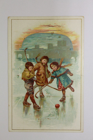 Antique Ice Polo / Bandy - 3 Children Playing - Circa 1880