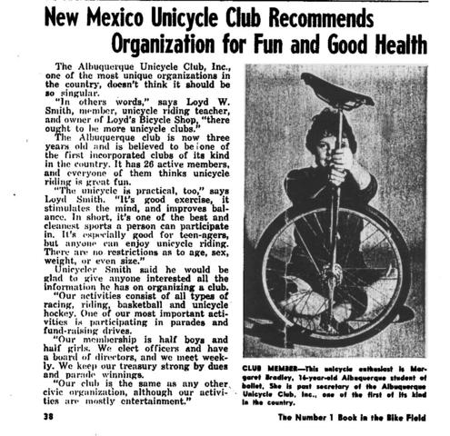 1st Mention of Unicycle Hockey - Albuquerque Unicycle Club 1960