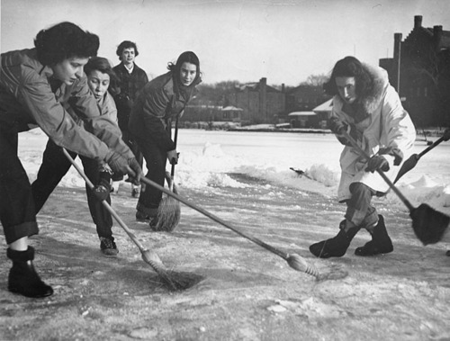 Vintage Broomball - Ladies Game - Minnesota - circa 1960s