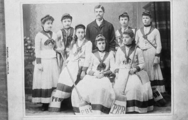 Antique Broomball - Petrolia Girls Team - Ontario - Early 1900s