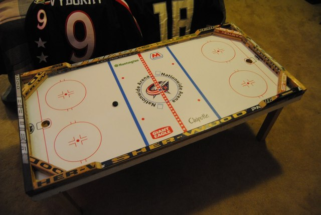 Beer Hockey Coffee Table - Columbus Blue Jackets Theme - 2009