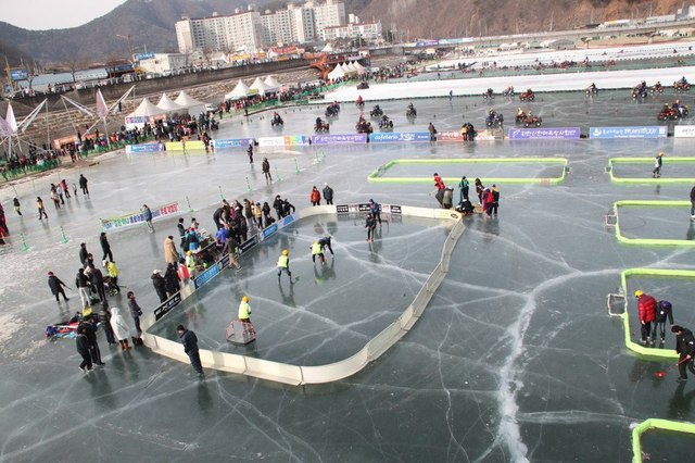 Ice Floorball Game - Hwacheon Ice Fishing Festival - 2012