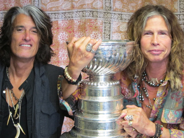 Joe Perry & Steven Tyler with the Stanley Cup / Presentation Cup