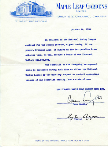 Conn Smythe & Syl Apps Autographed Contract 1939 - Maple Leafs