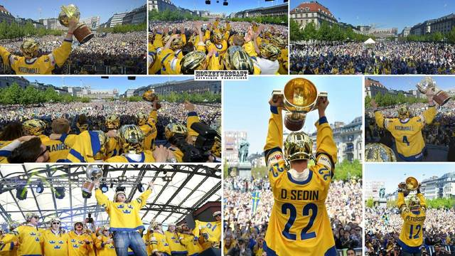 Team Sweden Celebrating after IIHF World Championship Victory