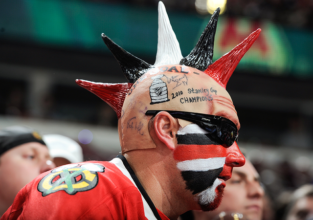 Chicago Blackhawks Fan With Fake Mohawk