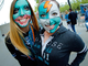 San Jose Sharks Girls With Face Paint  2013 Stanley Cup Playoffs
