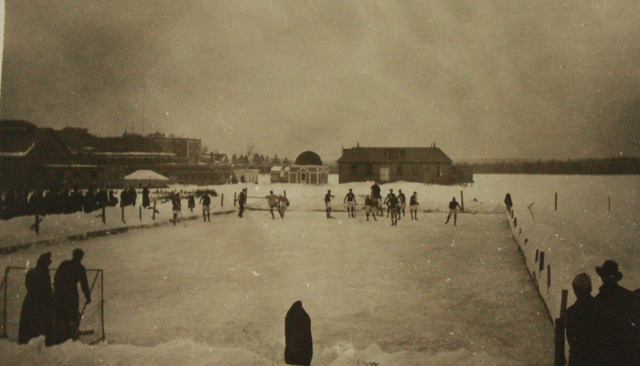 Antique Ice Hockey Game - Pond Hockey - Early 1900s
