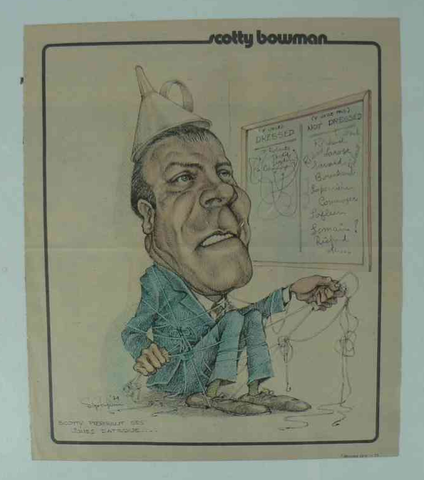 Scotty Bowman - Caricature Artwork - Montreal Canadiens - 1975