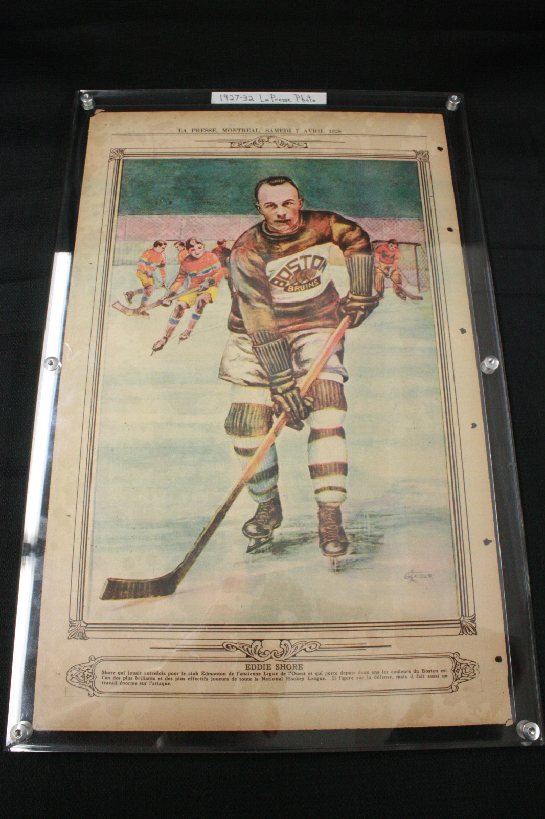 Eddie Shore - Boston Bruins - La Presse Newspaper - 1928  30b7cbbaa