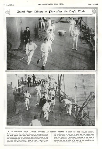 Antique Deck Hockey - Grand Fleet Officers at Play - 1916