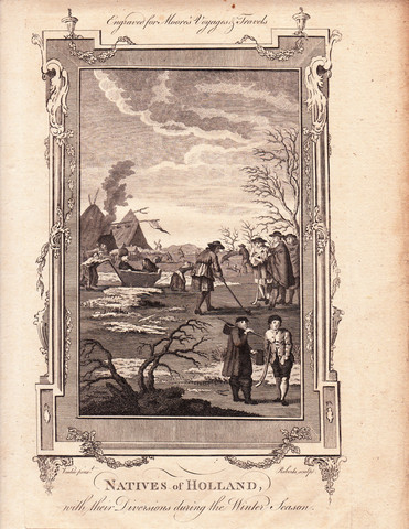 Antique Engraving - Natives of Holland - Kolf - Hurley - 1778