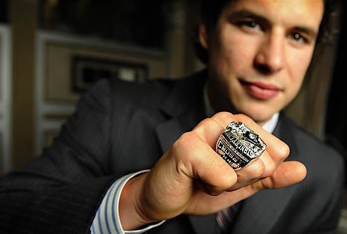 Sidney Crosby Showing His 2009 Stanley Cup Championship Ring