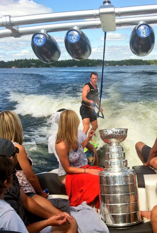 Jonathan Toews Wakeboarding With The Stanley Cup - Kenora - 2013
