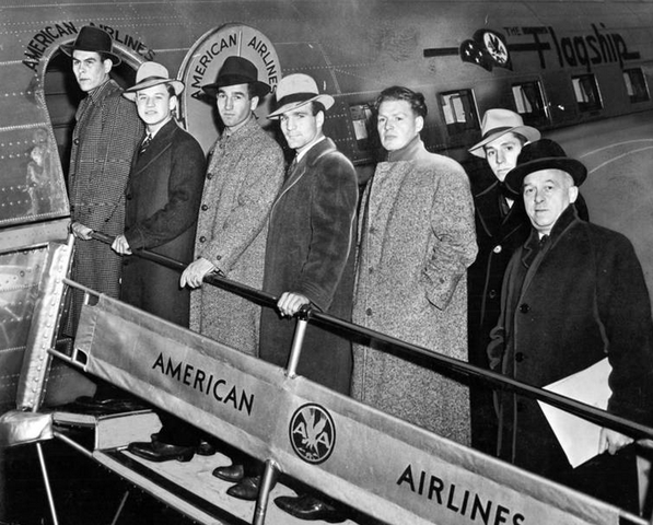 Chicago Black Hawks Players Boarding American Airlines 1940