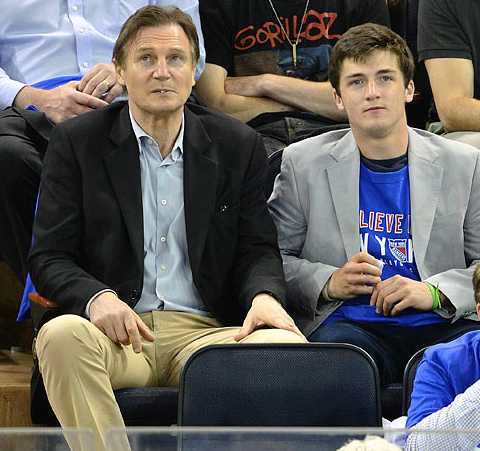 Liam Neeson & Son at a NY Rangers 2013 NHL Playoffs Game