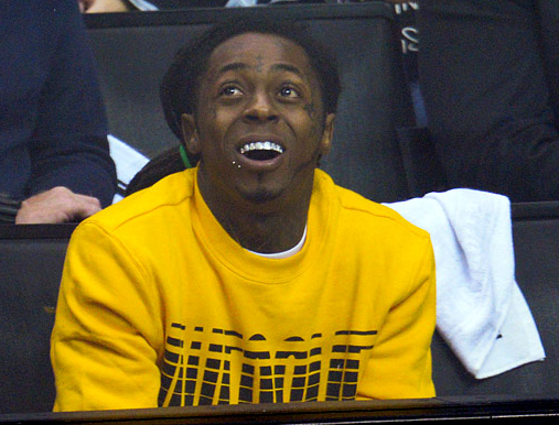Lil' Wayne at a LA Kings vs Blackhawks 2013 NHL Playoffs Game