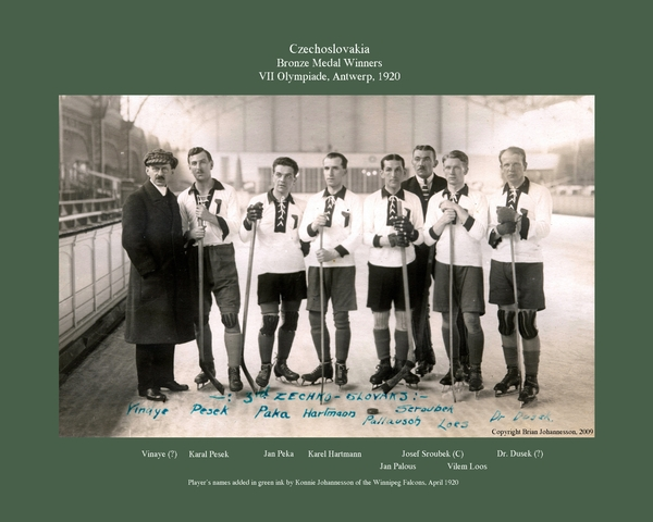 Czechoslovakia Hockey Team - 1920 Olympic Bronze Medal Winners