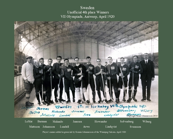 Team Sweden - 4th Place - 1920 Olympics Ice Hockey - Antwerp