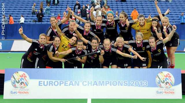German Women Biting Their Gold Medals  2013 EuroHockey Champions