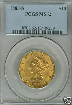 Coin 1885 Gold 10 Us 1