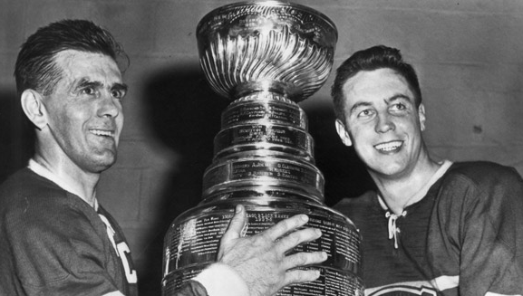 Maurice Richard & Jean Beliveau with The Stanley Cup - 1956