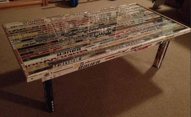 Hockey Stick Coffee Table with Glass Top