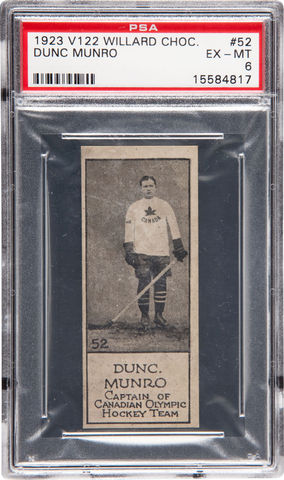 Dunc Munro - Willard's Chocolate Hockey Card #52 - 1924