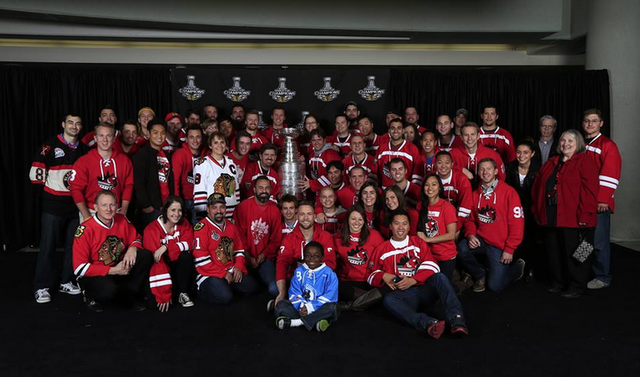 Chicago Gay Hockey Association Red Liners with the Stanley Cup