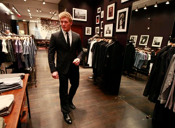 Gabriel Landeskog gets fitted for a suit at John Varvatos - 2012