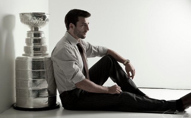 Patrice Bergeron Looking Stylish with The Stanley Cup - 2011