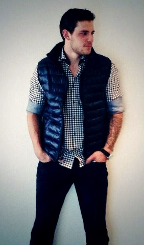 Tyler Seguin Looking Casual in a Blue Down Vest - 2013