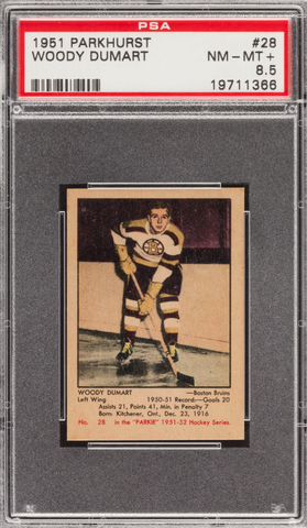 Woody Dumart - Parkhurst Hockey Card #28 - 1951 - PSA 8.5